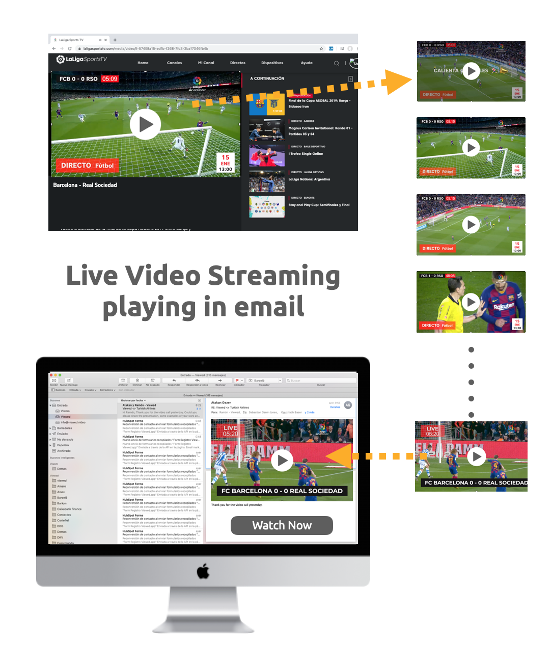 Live video streaming playing in email