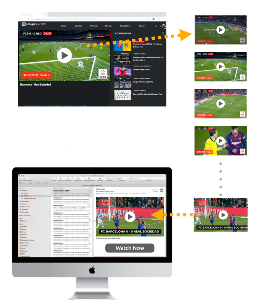live video streaming via email